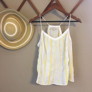 Women's LOFT white Tank with Yellow Embroidery